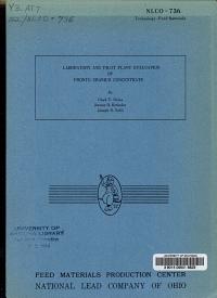 Laboratory and Pilot Plant Evaluation of Pronto Uranium Concentrate