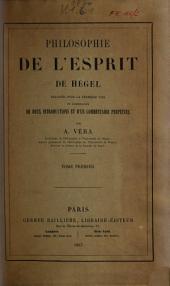 Philosophie de l'esprit de Hegel: Volume1