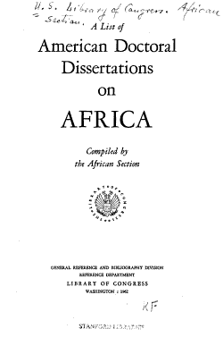 A List of American Doctoral Dissertations on Africa PDF