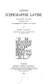 Cours d'épigraphie latine
