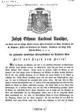 Der gesammten ehrwürdigen Pfarrgeistlichkeit der Erzdiöcese Wien Heil und Segen vom Herrn! (15.1.1871.)