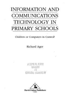 Information and Communications Technology in Primary Schools PDF