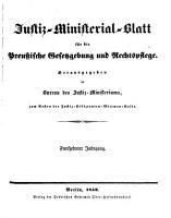 Justiz Ministerialblatt f  r die preu  ische Gesetzgebung und Rechtspflege PDF