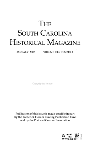 South Carolina Historical Magazine PDF