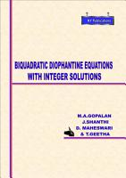 BIQUADRATIC DIOPHANTINE EQUATIONS WITH INTEGER SOLUTIONS PDF