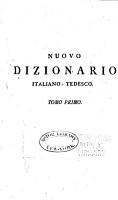 Nuovo dizionario Italiano Tedesco e Tedesco Italiano     PDF