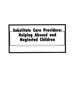 Substitute Care Providers Book