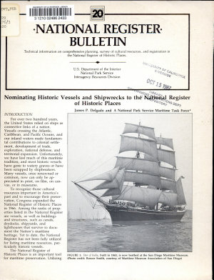 Nominating Historic Vessels and Shipwrecks to the National Register of Historic Places PDF