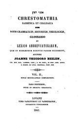 Chrestomathia rabbinica et chaldaica cum notis grammaticis, historicis, theologicis: 2.2: Notas miscellaneas complectens. Notae in selecta chaldaica