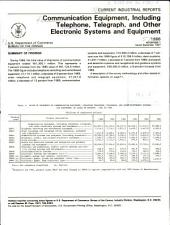 Current Industrial Reports: Communication equipment, including telephone, telegraph, and other electronic systems and equipment