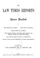 The Law Times Reports of Cases Decided in the House of Lords, the Privy Council, the Court of Appeal ... [new Series]: Volume 59