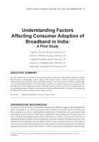 Understanding Factors Affecting Consumer Adoption of Broadband in India  A Pilot Study PDF