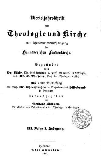 Vierteljahrschrift f  r Theologie und Kirche  herausg  von Dr  L  cke und K  Wieseler  Bd 1 4  neue Folge  Jahrg  1 3  iii PDF