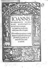 Annotationes in Deuteronomium, in Samuelem prophetam, id est, duos libros Regum