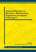 Advanced Research on Mechanics  Manufacturing Engineering and Applied Technology II PDF