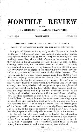 Monthly Review of the U S  Bureau of Labor Statistics PDF