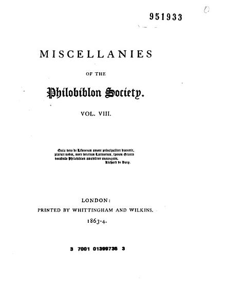 Download Miscellanies of the Philobiblon Society Book