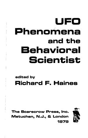 UFO Phenomena and the Behavioral Scientist PDF