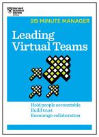 Leading Virtual Teams  HBR 20 Minute Manager Series  PDF
