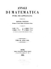 Annali Di Matematica Pura Ed Applicata: Volume 3