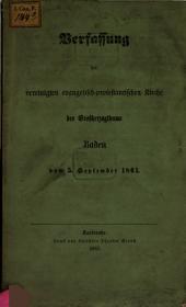 Verfassung der vereinigten evangelisch-protestantischen Kirche des Großherzogthums Baden vom 5. September 1861