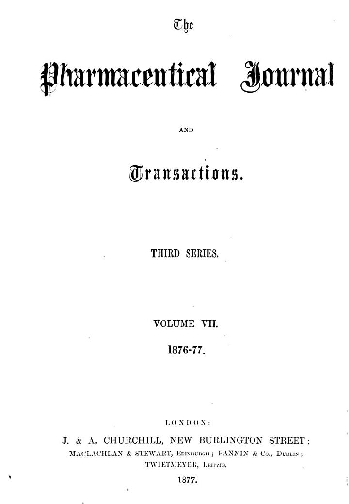 ¬The pharmaceutical journal and transactions