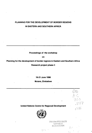 Planning for the Development of Border Regions in Eastern and Southern Africa PDF