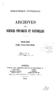 Archives des sciences physiques et naturelles: Volumes29à30