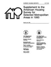 Current Housing Reports: Supplement to the American housing survey for selected metropolitan areas in .... H171, Volume 171