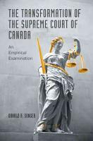 The Transformation of the Supreme Court of Canada PDF