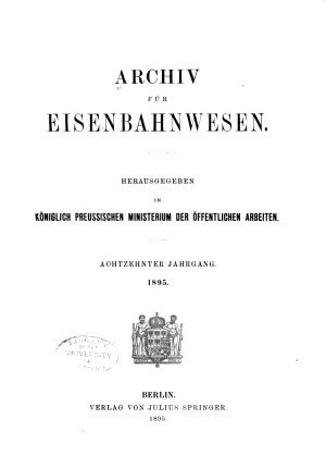 Archiv F  r Eisenbahnwesen