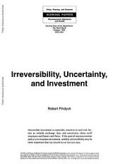 Irreversibility, Uncertainty, and Investment: Volume 294