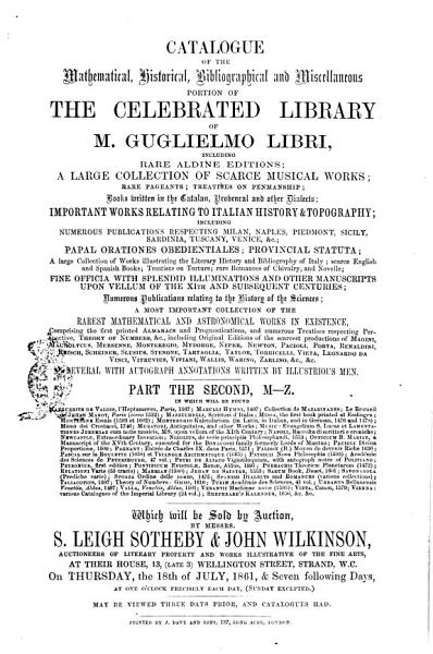Download Catalogue of the Mathematical  Historical and Miscellaneous Portion of the Celebrated Library of M  Guglielmo Libri    Book