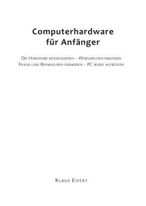 Computerhardware f  r Anf  nger PDF