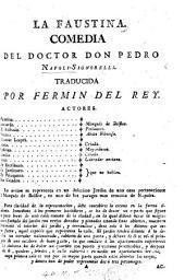 La Faustina. Comedia [in five acts and in verse] ... traducida por F. del Rey