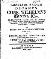 ... Conr. Wilhelmus Strecker ... ad audiendam lectionem cursoriam ad Nov. 118.C.1. ... invitat