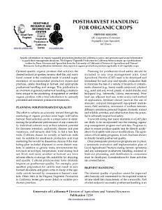 Postharvest Handling for Organic Crops