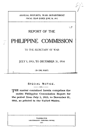 Report of the United States Philippine Commission to the Secretary of War ...
