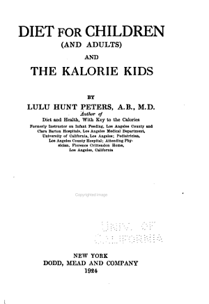 Diet for Children  and Adults  and the Kalorie Kids PDF