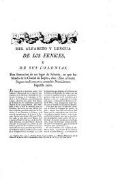 Del alfabeto y lengua de los Fenices, y de sus colonias