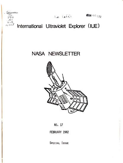 NASA Newsletter for International Ultraviolet Explorer  IUE   PDF