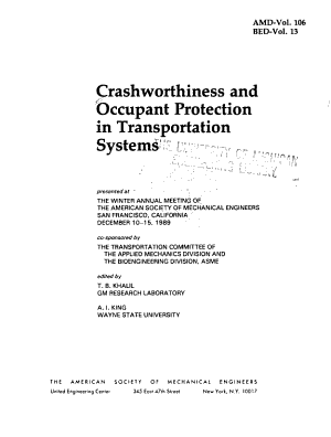 Crashworthiness and Occupant Protection in Transportation Systems PDF