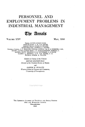 Personnel and Employment Problems in Industrial Management ...