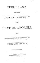 Public Laws Passed by the General Assembly of the State of Georgia at Its Regular Session in January and February, 1875