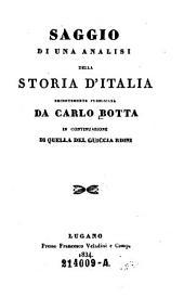 Saggio di una analisi della storia d'Italia recentemente pubb. da --- in continuaziae di quella del Guicciardini