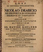 De Nicolao Drabicio, neopropheta in Hungaria delirante et turbulento