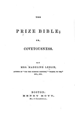 The Prize Bible  Or  Covetousness