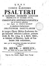 De codice rarissimo Psalterii in Saxoniae inferioris linguam translati et glossis aucti, commentatio historico-exegetica: Volume 3
