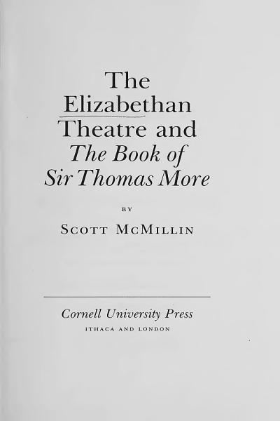 Download The Elizabethan Theatre and  The Book of Sir Thomas More   Book