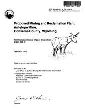 Antelope Mine, Converse County, Proposed Mining and Reclamation Plan: Environmental Impact Statement